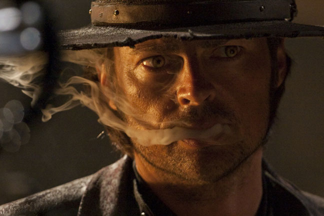 """Smoke trails from Karl Urban's mouth, """"Priest"""" October 7, 2009"""