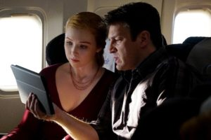 "CASTLE - ""In Plane Sight"" - As Castle and Alexis travel to London, their routine flight turns deadly when the plane's Air Marshal is found murdered. With the help of Beckett on the ground, Castle and Alexis race against time to find the killer before he carries out his fateful plan, on ""Castle,"" MONDAY, APRIL 27 (10:01-11:00 p.m., ET) on the ABC Television Network. (ABC/Richard Cartwright) MOLLY QUINN, NATHAN FILLION"