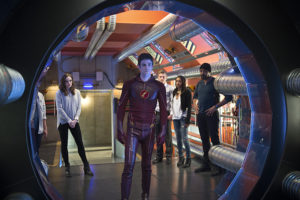 """The Flash -- """"Fast Enough"""" -- Image FLA123A_0159b -- Pictured (L-R): Danielle Panabaker as Caitlin Snow, Grant Gustin as Barry Allen, Rick Cosnett as Detective Eddie Thawne, Candice Patton as Iris West, and Jesse L. Martin as Detective Joe West -- Photo: Diyah Pera/The CW -- © 2015 The CW Network, LLC. All rights reserved."""