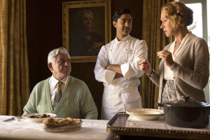 "This image released by DreamWorks II shows, from left, Om Puri, Manish Dayal and Helen Mirren in a scene from ""The Hundred-Foot Journey."" (AP Photo/François Duhamel, DreamWorks II)"