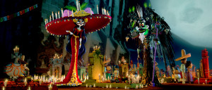 ***SUNDAY CALENDAR SNEAKS STORY FOR SEPTEMBER 7, 2014. DO NOT USE PRIOR TO PUBLICATION******** La Muerte (voiced by Kate del Castillo) and Xibalba (voiced by Ron Perlman) in the movie THE BOOL OF LIFE. Photo credit: Twentieth Century Fox/Reel FX