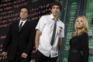 CHUCK -- Pictured: (l-r) Adam Baldwin as Major John Casey, Zachary Levi as Chuck Bartowski, Yvonne Strzechowski as Sarah Walker -- NBC Photo: Mitchell Haaseth