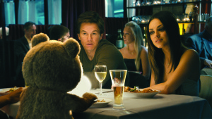Ted (voiced by SETH MACFARLANE) has dinner with his best friend, John (MARK WAHLBERG), and John?s girlfriend Lori, (MILA KUNIS), in the live action/CG-animated comedy ?Ted?.