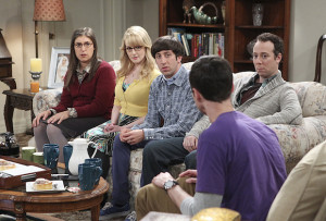 """The Matrimonial Momentum"" -- Sheldon doesn't know how to act after Amy pushes pause on their relationship, on the ninth season premiere of THE BIG BANG THEORY, Monday, Sept. 21 (8:00-8:31 PM, ET/PT), on the CBS Television Network. Pictured left to right: Mayim Bialik, Melissa Rauch, Simon Helberg, Jim Parsons and Kevin Sussman Photo: Sonja Flemming/CBS ©2015 CBS Broadcasting, Inc. All Rights Reserved"