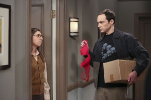 """""""The Separation Oscillation"""" -- Sheldon (Jim Parsons, right) films a special episode of """"Fun with Flags"""" after his breakup with Amy (Mayim Bialik, left), on THE BIG BANG THEORY, Monday, Sept. 28 (8:00-8:31 PM, ET/PT), on the CBS Television Network. Photo: Michael Yarish/Warner Bros. Entertainment Inc. © 2015 WBEI. All rights reserved."""