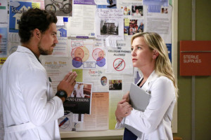 "GREY'S ANATOMY - ""Sledgehammer"" - Grey Sloan Memorial Hospital springs into action to save the lives of two young girls whose powerful story will force some of the doctors to revisit the effects of bullying on their own pasts. Meanwhile, Meredith must adjust to changes at home with her new roommates while Bailey continues to fight for the Chief of Surgery position and Jackson prepares for April's return to Seattle, on the Season 12 premiere of ""Grey's Anatomy,"" THURSDAY, SEPTEMBER 24 (8:00--9:00 p.m., ET) on the ABC Television Network. (ABC/Mitchell Haaseth) GIACOMO GIANNIOTTI, JESSICA CAPSHAW"