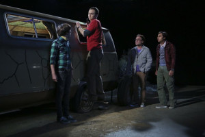 """The Bachelor Party Corrosion"" -- The guys' science skills are put to the test when they get a flat tire during Leonard's bachelor party weekend in Mexico, on THE BIG BANG THEORY, Monday, Oct. 5 (8:00-8:31 PM, ET/PT), on the CBS Television Network. Pictured left to right: Simon Helberg, Jim Parsons, Johnny Galecki and Kunal Nayyar Photo: Monty Brinton/CBS ©2015 CBS Broadcasting, Inc. All Rights Reserved"