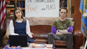 """The Valentino Submergence"" -- Sheldon (Jim Parsons, right) and Amy (Mayim Bialik, left) host a live Valentine's Day episode of Fun with Flag, on THE BIG BANG THEORY, Thursday, Feb. 11 (8:00-8:31 PM, ET/PT), on the CBS Television Network. Photo: Monty Brinton/CBS ©2016 CBS Broadcasting, Inc. All Rights Reserved"