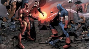 """Iron Man and Captain America face off in this double truck panel from the upcoming comic book release """"Marvel: CIvil War"""" --- DATE TAKEN: rcd 04/06 No Byline Marvel Comics , Source: Jeffrey Klein: 212.981.5189 HO - handout ORG XMIT: ZX46848"""