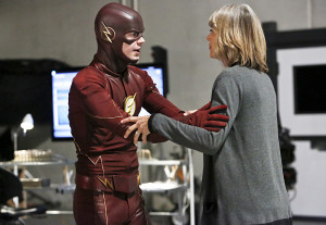 """The Flash -- """"The Reverse Flash Returns"""" -- Image FLA211b_0066b -- Pictured (L-R): Grant Gustin as The Flash and Amanda Pays as Christina McGee -- Photo: Bettina Strauss/The CW -- © 2016 The CW Network, LLC. All rights reserved."""