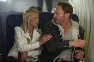 SHARKNADO 2: THE SECOND ONE -- Pictured: (l-r) Tara Reid as April Wexler, Ian Ziering as Fin Shepard -- (Photo by: Jaimie Trueblood/Syfy)
