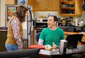 """The Solder Excursion Diversion"" -- Amy (Mayim Bialik, left) is shocked at a revelation from Sheldon (Jim Parsons, right) after she buys him a new laptop, on THE BIG BANG THEORY, Thursday, March 31 (8:00-8:31 PM, ET/PT) on the CBS Television Network. Photo: Sonja Flemming/CBS ©2016 CBS Broadcasting, Inc. All Rights Reserved"
