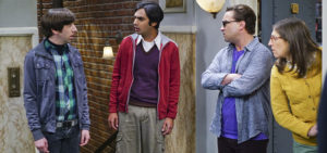 """""""The Viewing Party Combustion"""" --Everyone must choose sides when a small argument between Leonard (Johnny Galecki, right) and Sheldon erupts into a heated fight during a group get-together, on THE BIG BANG THEORY, Thursday, April 21 (8:00-8:31 PM, ET/PT) on the CBS Television Network. Also pictured: Simon Helberg (left), Kunal Nayyar (center) and Mayim Bialik (right) Photo: Monty Brinton/CBS ©2016 CBS Broadcasting, Inc. All Rights Reserved"""