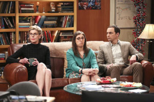 """""""The Convergence Convergence"""" - Pictured: Beverly (Christine Baranski), Amy Farrah Fowler (Mayim Bialik) and Sheldon Cooper (Jim Parsons). Chaos ensues when Leonard's recently divorced parents, Alfred (Judd Hirsch) and Beverly (Christine Baranski), and Sheldon's devoutly religious mother, Mary (Laurie Metcalf), come to town. Also, Wolowitz and Koothrappali think the government is out to get them when they are contacted about their guidance system, on the ninth season finale of THE BIG BANG THEORY, Thursday, May 12 (8:00-8:31 PM, ET/PT) on the CBS Television Network. Photo: Michael Yarish/Warner Bros. Entertainment Inc. © 2016 WBEI. All rights reserved."""