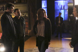 "CASTLE - ""Much Ado About Murder"" - After a movie star turned theater actor is mysteriously killed, Castle and Beckett go backstage and learn the star had more to worry about than just his lines, on ""Castle,"" MONDAY, MAY 2 (10:00-11:00 p.m. EDT), on the ABC Television Network. (ABC/Mitch Haaseth) NATHAN FILLION, JON HUERTAS, JEWEL STAITE"