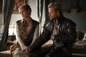 WARNING: Embargoed for publication until: 06/01/2015 - Programme Name: The Musketeers - TX: n/a - Episode: n/a (No. 3) - Picture Shows: Comte De Rochefort (MARC WARREN), Queen Anne (ALEXANDRA DOWLING) - (C) BBC - Photographer: Dusan Martincek