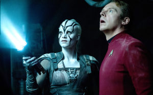 Star Trek Beyond†(2016) Left to right: Sofia Boutella (plays Jaylah) and Simon Pegg (plays Scotty)