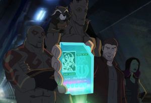 "MARVEL'S GUARDIANS OF THE GALAXY - ""Road to Knowhere"" - The newly christened Guardians of the Galaxy come into possession of a dangerous artifact that has Thanos' new second-in-charge, Korath, after them. This episode of ""Marvel's Guardians of the Galaxy"" premieres on Saturday, September 26 (8:30 p.m., ET/PT) on Disney XD. (Disney XD) DRAX THE DESTROYER, ROCKET RACCOON, GROOT, PETER QUILL, GAMORA"
