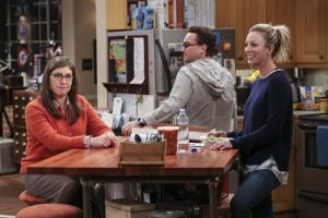 """The Brain Bowl Incubation"" -- Pictured: Amy Farrah Fowler (Mayim Bialik), Leonard Hofstadter (Johnny Galecki) and Penny (Kaley Cuoco). After a successful experiment combining their genes, Sheldon will stop at nothing to convince Amy they should procreate. Also, Koothrappali is embarrassed to tell the gang what the new woman he's dating does for a living, on THE BIG BANG THEORY, Thursday, Nov. 10 (8:00-8:31 PM, ET/PT), on the CBS Television Network. Photo: Michael Yarish/Warner Bros. Entertainment Inc. © 2016 WBEI. All rights reserved."