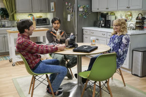 """The Geology Elevation"" -- Pictured: Howard Wolowitz (Simon Helberg), Rajesh Koothrappali (Kunal Nayyar) and Bernadette (Melissa Rauch). When Bert (Brian Posehn), a Caltech geologist, wins the MacArthur Genius fellowship, Sheldon is overcome with jealousy. Also, Wolowitz finds an old remote control Stephen Hawking action figure he invented, on THE BIG BANG THEORY, Thursday, Nov. 17 (8:00-8:31 PM, ET/PT), on the CBS Television Network. Stephen Hawking returns to guest star as himself. Photo: Monty Brinton/CBS ©2016 CBS Broadcasting, Inc. All Rights Reserved."