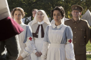 WARNING: Embargoed for publication until: 06/05/2014 - Programme Name: The Crimson Field - TX: n/a - Episode: n/a (No. 6) - Picture Shows: (L-R) Flora Marshall (ALICE ST CLAIR), Kitty Trevelyan (OONA CHAPLIN) - (C) BBC - Photographer: Nick Briggs